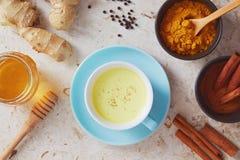 Den läckra detoxdrinken som göras av gurkmeja, ingefära, mjölkar, honung och royaltyfri fotografi