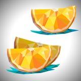 Den låga poly apelsinen isolerade den inklusive skivavektormappen Arkivbild