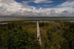 Den långa pir ut till Bogueljudet, Emerald Isle, North Carolina landar royaltyfri foto