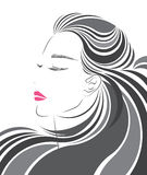 Den långa symbolen för hårstil, logokvinnor vänder mot Arkivbilder