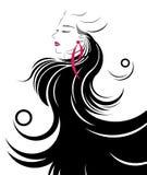 Den långa symbolen för hårstil, logokvinnor vänder mot Royaltyfri Bild