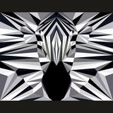 Den lösa sebran stirrar framåtriktat Natur och bakgrund för tema för djurliv Abstrakt geometrisk polygonal triangelillustration Arkivfoto