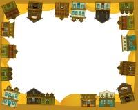 Den lösa västra - västra - ramen - gräns - mall - illustration för barnen Arkivbilder