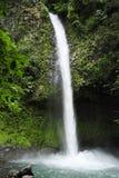 Den LaFortuna vattenfallet plaskar ner under frodig lövverk royaltyfri bild