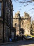 Den Lancaster slotten i England är i mitten av staden royaltyfri foto