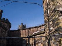 Den Lancaster slotten i England är i mitten av staden royaltyfri fotografi