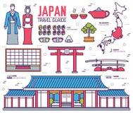 Den landsJapan turen av gods, ställen och särdrag i tunna linjer stil planlägger Uppsättning av arkitektur, mode, folk, objekt Royaltyfria Foton