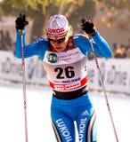 den landskorsmilano racen sprintar kvinnan Fotografering för Bildbyråer