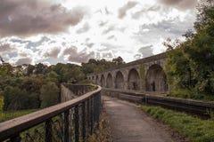 Den Langollen kanalakvedukten och viadukten på Chirk Fotografering för Bildbyråer