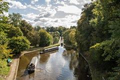 Den Langollen kanalakvedukten och viadukten på Chirk Royaltyfri Foto