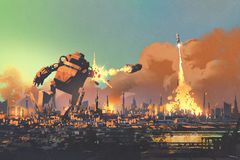 Den lanserande raketstansmaskinen för den jätte- roboten förstör staden royaltyfri illustrationer