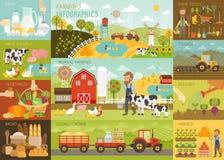 Den lantbrukInfographic uppsättningen med djur, utrustning och annan anmärker