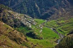 Den lantliga byn ser som en himmel med floder och trädet arkivfoton