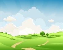 Den lantliga sommaren landskap stock illustrationer