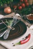 Den lantliga tabellinställningen med leraplattan, bestick, peppar maler, flaskor av vin, gräsplaner, grönsaker och kryddor Landss Royaltyfri Bild