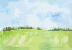 Den lantliga vattenfärgen landskap stock illustrationer