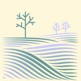 Den lantliga vintern landskap med sätter in och treen Arkivbild