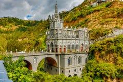 Den Las Lajas fristaden i Ipiales byggdes i det 18th århundradet arkivfoto