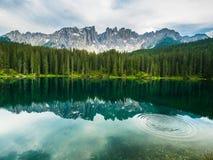 Den Latemar monteringen och trän reflekterade i Karersee sjön, Dolomites, Italien Arkivbild