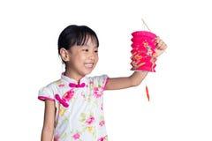 Den latern asiatiska kinesiska lilla flickan som rymmer, firar mitt--hösten fe arkivfoto