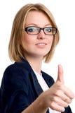 Den le affärskvinnagesten visar okay arkivbild