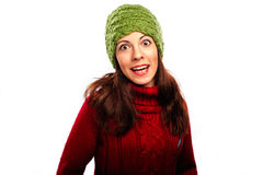 Den le flickan i vinter utformar Royaltyfri Foto