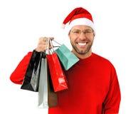 Den le julen man slitage av en santa hatt Royaltyfri Bild