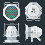 Den LEDDE för etappbelysning för MEDELTALEN yrkesmässiga projektorn färgade plan illus Arkivfoton