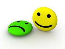 Den ledsna och lyckliga smileyen vänder mot Royaltyfri Bild