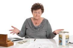 Den ledsna pensionärkvinnan har pengarproblem - armod i åldern royaltyfria foton