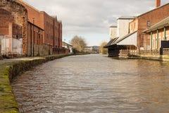 Den Leeds Liverpool kanalen från den Wigan pir arkivfoto