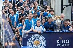 Den Leicester staden firar mästerskap av engelskapremiärligan i Thailand Arkivfoto