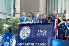 Den Leicester staden firar mästerskap av engelskapremiärligan i Thailand Arkivbild