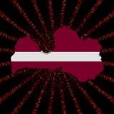 Den Lettland översiktsflaggan på rött förhäxer kodbristningsillustrationen stock illustrationer