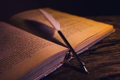 Den Libro anticoen lurar calamaio för penna e Arkivbild