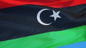 Den Libyen flaggan i ultrarapid kretsade sömlöst med alfabetisk vektor illustrationer