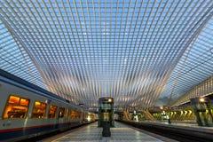 Den Liege Guillemins drevjärnvägsstationen utbildar stången Santiago Cala Fotografering för Bildbyråer