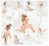 Den lilla balerinaen i den vita ballerinakjolen i grupp på balettskolan Royaltyfria Bilder