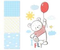 Den lilla björnen flyger i en ballong yttersidamodell royaltyfri illustrationer