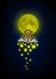 Den lilla björnen flyger på en magisk bok med fallande stjärnor som är upplysta vid månskenet royaltyfria bilder