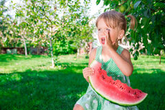 Den lilla blondinen med skivan av vattenmelon i sommar parkerar Lyckligt Skrika och att kalla Royaltyfri Fotografi