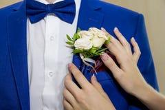 Den lilla butanerkuen för brudstift på omslaget brudgummen Arkivfoto