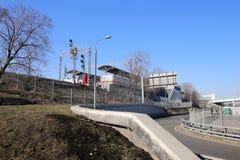 Den lilla cirkeln av Moskvajärnvägarna är 54 järnväg för orbital 4-kilometre-long i Moskva Ryssland Arkivfoton