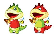 Den lilla draken äter pizza Arkivbilder