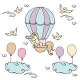 Den lilla enhörningen i luftballong ser in i en kikare royaltyfri illustrationer