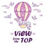 Den lilla enhörningen i luftballong ser in i en kikare vektor illustrationer