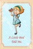 Den lilla fågeln berättade mig idiom vektor illustrationer