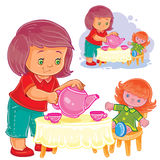 Den lilla flickan spelar med en docka, behandlar henne med te vektor illustrationer