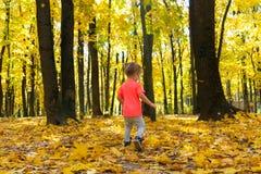 Den lilla gulliga flickan som går i höst, parkerar arkivfoton