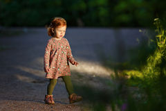 Den lilla härliga rödhåriga lilla flickan går till ljuset, i th royaltyfri foto
